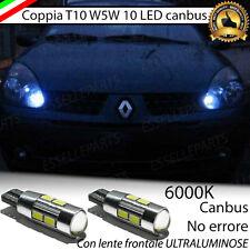 COPPIA LUCI POSIZIONE A 10 LED RENAULT CLIO 2 II T10 W5W CANBUS BIANCO NO ERROR