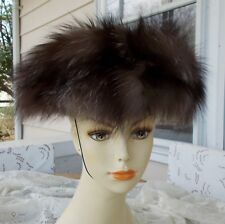 f40b9776f41 Vintage Silver Fox Fur Hat With Elastic String Strap Lovely Size S