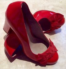 Moda In Pelle Orange Patent Leather High Heels UK 5