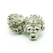 Flaming Skull Stud Earrings in Gift Case Crystal Stones Silver Color 15mm New