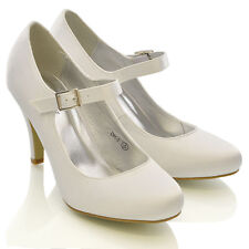 WOMENS BRIDAL STILETTO WHITE IVORY SATIN LADIES HEELS WEDDING BRIDESMAID SHOES