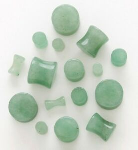 """Pair Jade Stone Solid Saddle Fit EAR PLUGS Tunnel Gauges 8GA-1/"""" Piercing Jewelry"""