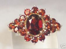 14K YELLOW GOLD GARNET CLUSTER RING 2.86 CARATS TW  SIZE 7.25