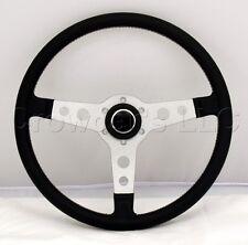 Sport Line Racing Steering Wheel 360mm Black Leather Silver Spokes 20222