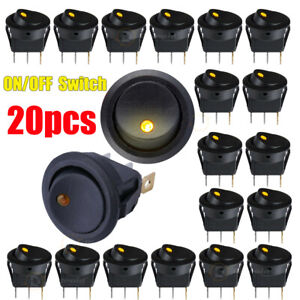 20PCS ON/OFF Round Rocker Dot LED Light Toggle Switch FOR Car Van Boat Dash