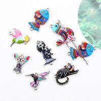 10Pcs Mixed Color Bird Dog Animals Enamel Charms Pendant Connector DIY Jewelry