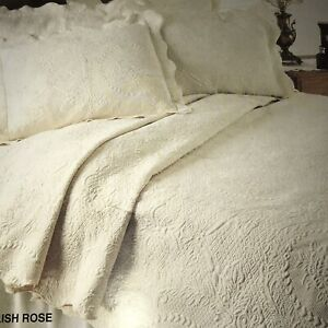 FAB! Made In Portugal Bay Colony Home White English Rose Twin Matelasse Coverlet