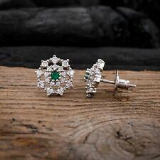 Designer Stud Earrings Flower Cluster Earrings Emerald CZ Jewelry For Women Gift