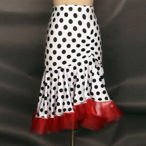 Latin salsa tango rumba Cha cha Square Ballroom Dance Dress#F028 Skirt White