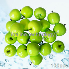 100pcs Fake Green Mini Apples Artificial Fruit House Party kitchen BBQ Decor