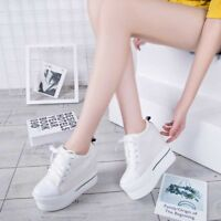 Women's Canvas Casual Sneakers Lace Up Creeper Hidden Wedge Heel Platform Shoes