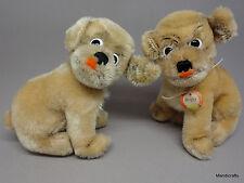 Steiff Mopsy Dog x 2 Mohair Plush Sitting ID Button Chest Tag 12cm 5in 1960s Vtg