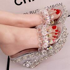 Bohemia Women Crystal Wedge High Heels Sandal Transparent Beads Princess Slipper