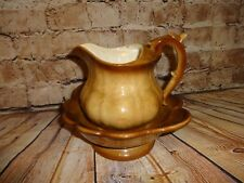 Vintage Pitcher Water Dry Small Wash Basin Brown