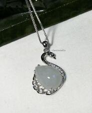 Certified  A grade drop Jadeite jade in Sterling silver Swan pendant necklace