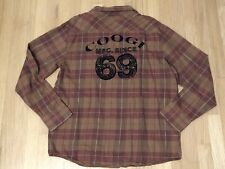 Coogi Mens Button Down Red Brown Plaid Long Sleeve Shirt L Large