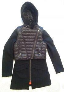 Next Ladies Coat Size 6 Black Zip Duffle With Padded Waistcoat Detail