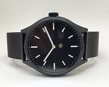 Bauhaus Moon Age Watch: BLACK Modern phase design, uniform steel mesh bracelet