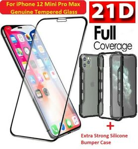 For iPhone 12 Mini Pro Max 21D Tempered Glass + Extra Strong Silcone Bumper Case