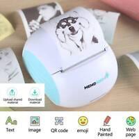 Portable Mobile Thermal Printer Inkless Wireless Sticker Printer w/ Print Paper