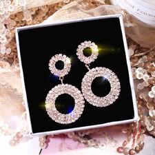 Luxury`Rhinestone Earrings Crystal Geometric Hoop Earrings Wedding Jewelry Q*