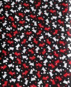 Scottie dog hound pet dotty bandana cotton black quilting quilt fabric