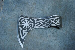 A-3 Customer Hand Made Viking Bearded Axe Head with Etching