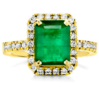 Certified Natural Emerald 2.88ct 14KT Yellow Gold w/ 0.61cttw Diamond Ring