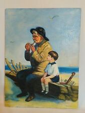 "Vintage Canvas Panel Oil Painting ""Boy with Boat old man sea smoking  kenyon"