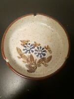 "Vintage Hand Crafted Stoneware Ashtray Japan  6"" Diameter - 1960s Flowers"