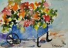 Original ACEO or ATC watercolor miniature painting - Flower Cart