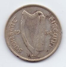 Scarce 1934 Irish Silver Half-Crown Coin Good Grade Leat Coroin Ireland