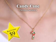 Candy Cane Christmas Pendant Necklace - Gold Colour XMAS Festive Fun