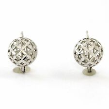 18k White Gold Textured Half Sphere Leverback Earrings  (new, 3.5g) 3839