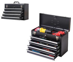 TECHTONGDA 4 Drawers Tool Box Portable Storage Cabinet Garage Organizer Black