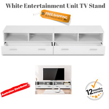 White Lowset Sideboard TV Stand Entertainment Furniture Drawers 2 Unit Table NEW