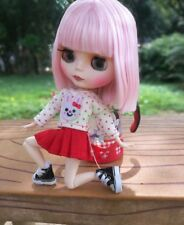 Blythe Nude Doll from Factory Jointed Body Matte Face Pink Short Stright Hair
