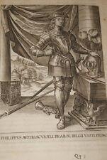 GRAVURE BELGIQUE PHILIPPUS AUSTRIACUS BRABANT VEEN COLLAERT 1623 OLD PRINT R1006