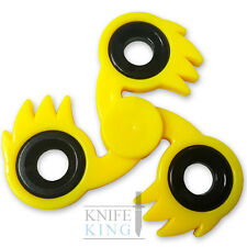 Ki-Blast Spiked Fidget Tri-Spinner Yellow Fireball Focus ADHD Finger Toy EDC