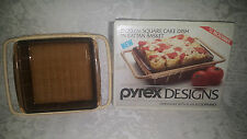 "Pyrex Designs 8"" Square Cake Dish in Rattan Basket Original Box NOS from 1980's"