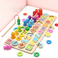 Kids Montessori Wooden Magnetic Fishing Game Math Toy Counting Board Learnin