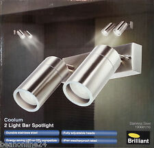 LED Stainless Steel Outdoor Adjustable Exterior Wall Light Set 2 x 12W GU10 240V