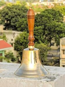 Large & Heavy Solid Brass Hand Bell School Bell Call Service Bell with Wood Hand