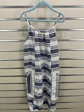 OLD NAVY GIRLS L 10/12 BLUE/WHITE STRIPE LINEN/COTTON SUN DRESS