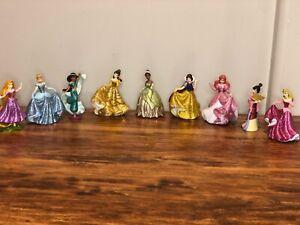 Disney Princess Sparkle Glitter Figurine Figure Playset Lot of 9 Cake Topper