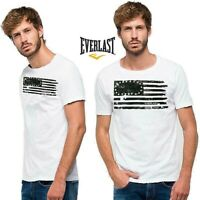 T-shirt uomo EVERLAST taglia XXL bianco e nero bandiera americana stampa vintage