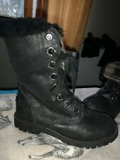 Lovely Bearpaw Kayla Lace Up Leather And thick Sheepskin Ankle Boots Sz Uk7