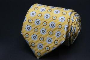 Current ERMENEGILDO ZEGNA Silk Tie. Yellow w Light Blue/Gray & Brown Floral