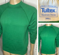 Vintage Tultex Blank Sweatshirt Retro 90s Pullover Crewneck Green Men Sz Small