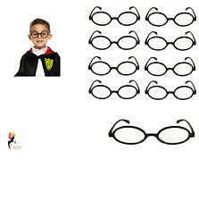 WIZARD ROUND GLASSES Black Geek Nerd Book Week Kids Costume Accessory Lot UK